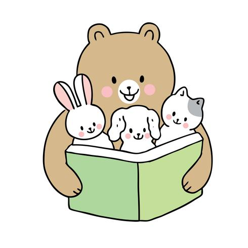 back to school bear reading book and baby animals.