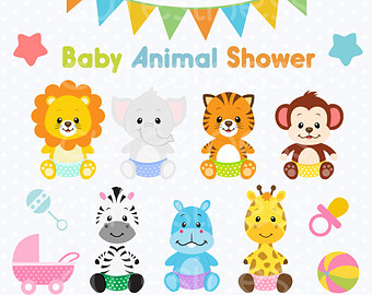 Jungle Baby Shower Clipart.