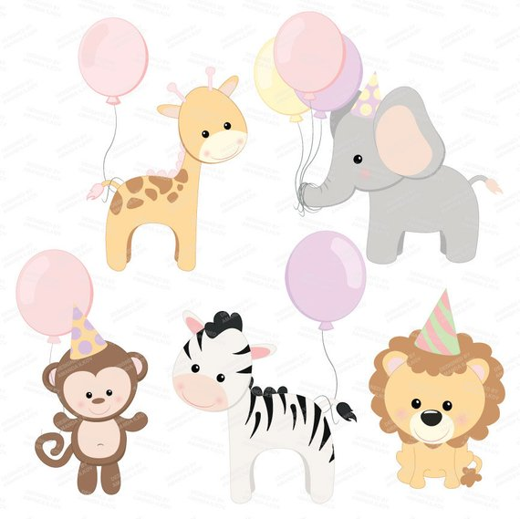 Professional Baby Birthday Party Animals Clipart & Vector Set.