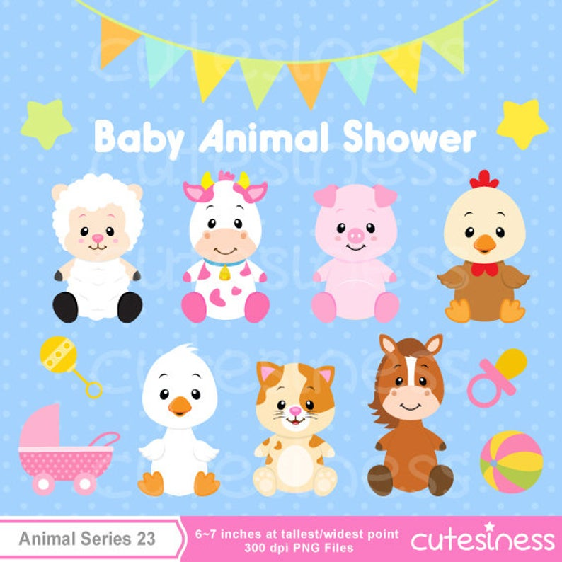 Baby Animal Clipart , Baby Farm Animals Clipart, Baby shower Clipart.
