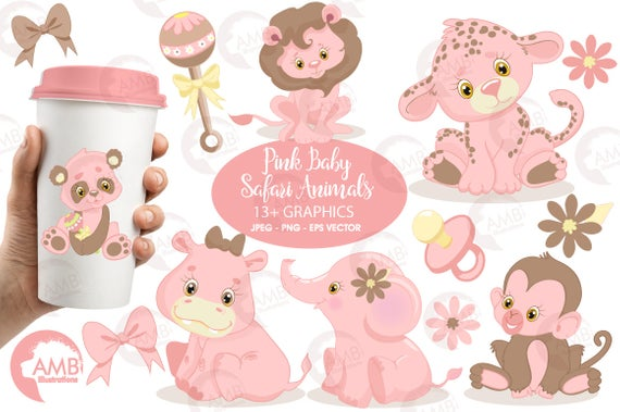 Jungle Animals Clipart, Jungle Animal Babies, Pink Baby Animals.