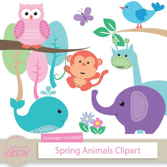 Spring Baby Animals Clipart for Digital Scrapbooking, Crafting,  Invitations, Baby Shower.