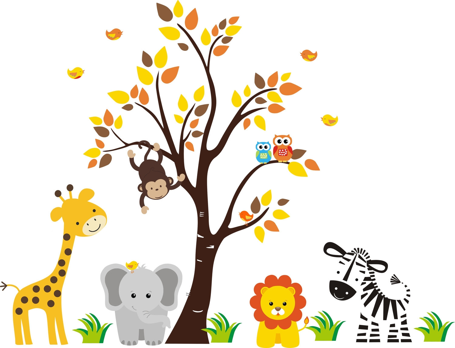 Jungle baby animal clipart.
