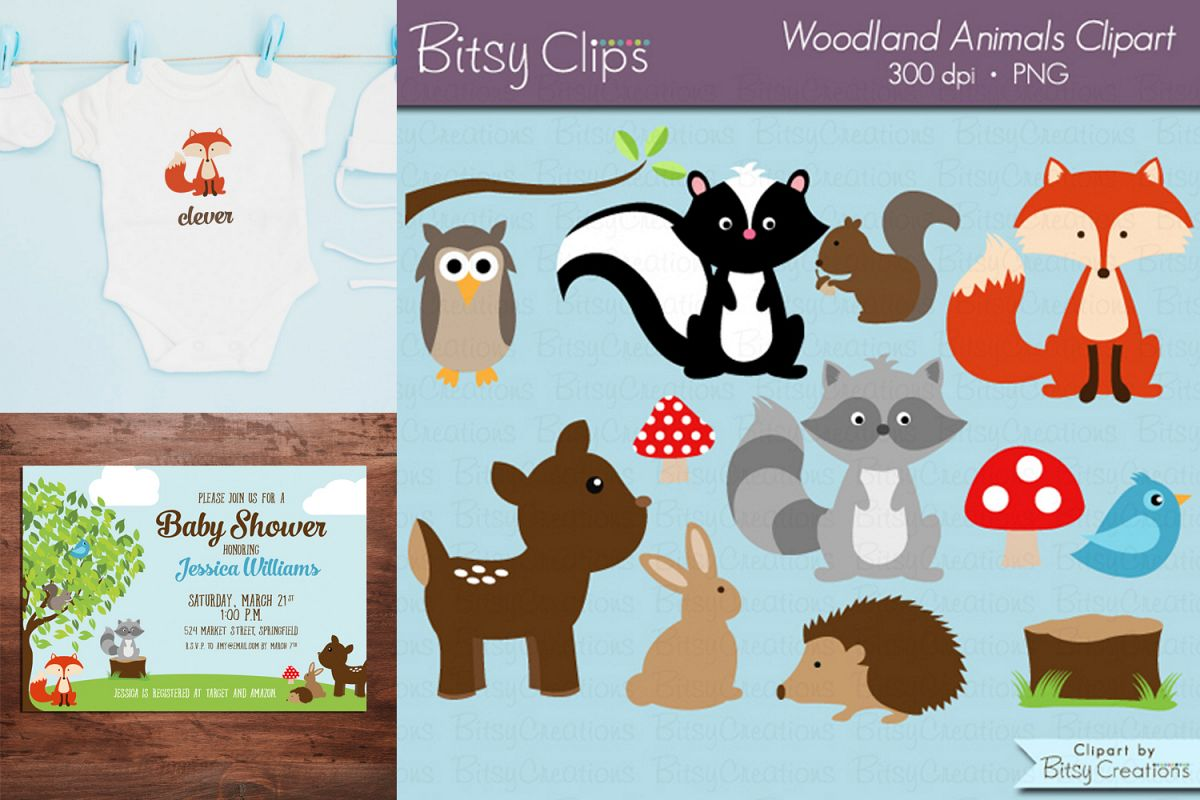 Woodland Animals Digital Art Set Clipart Commercial Use.