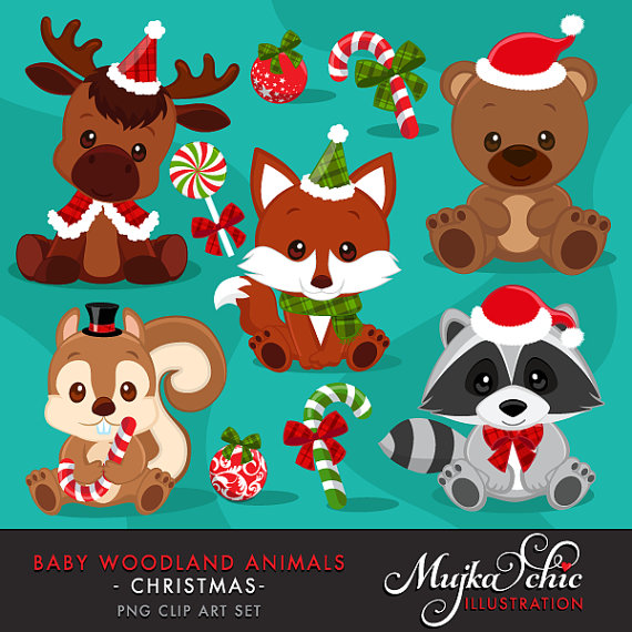 Christmas Baby Woodland Animals clipart. Baby fox, Baby squirrel.