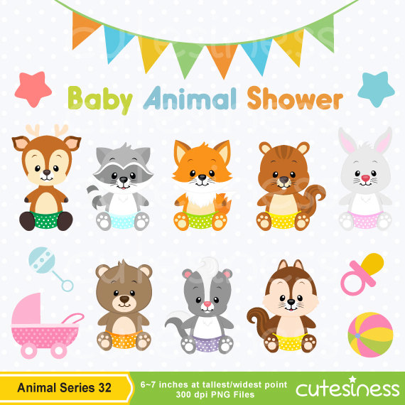 Baby Animal Clipart , Baby Animal Clip art, Baby Jungle Animals.