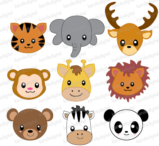 Baby Animal Faces Clipart.