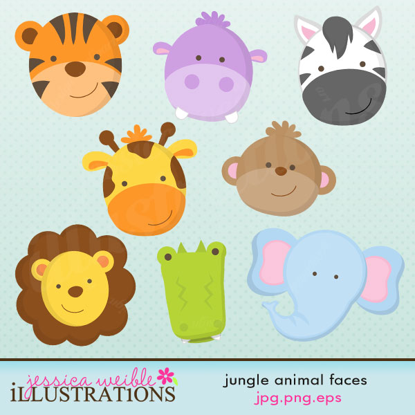 Baby Animal Faces Clipart Baby Shower.