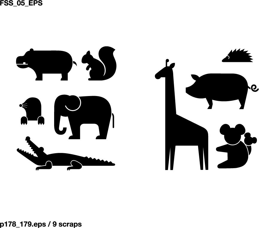 free vector Various elements of vector silhouette animal.