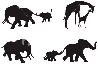 Four different silhouettes of African elephants and Giraffe.