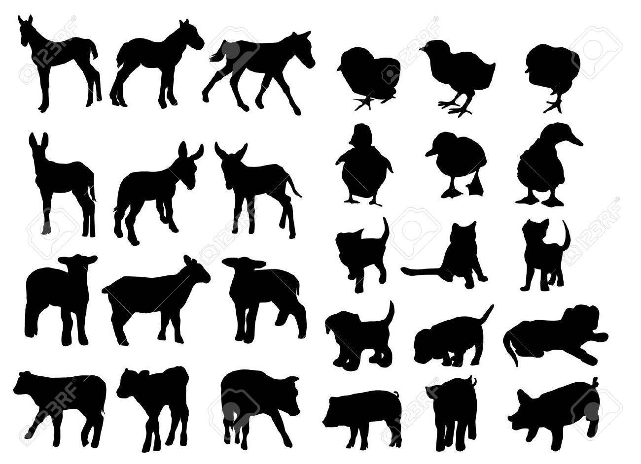 Baby Animal Silhouette Clip Art.