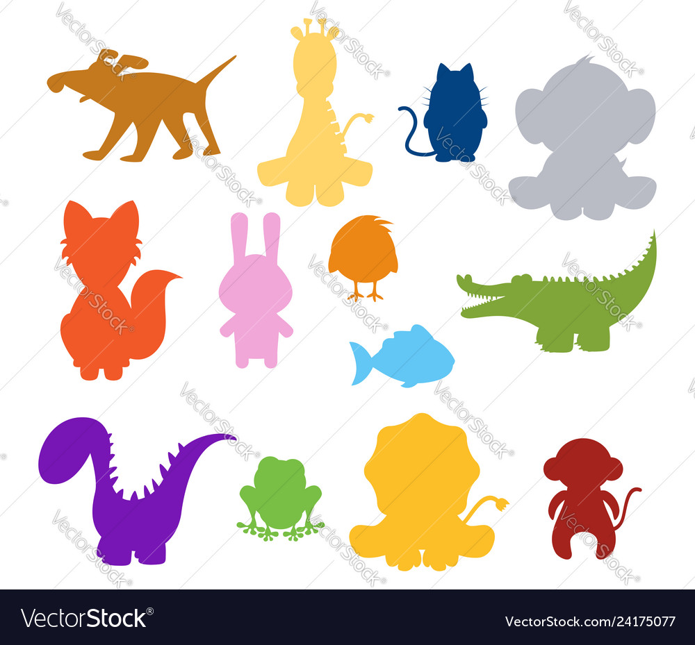 Baby silhouette animals.