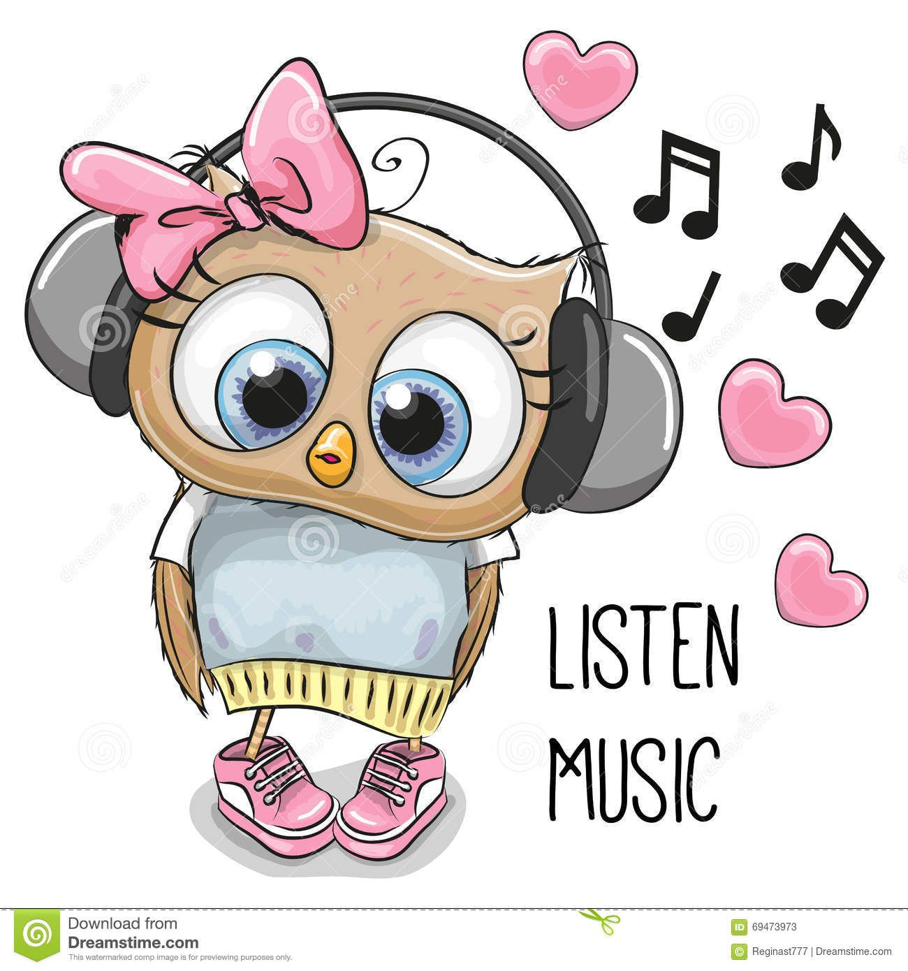 Photo about Cute cartoon Owl Girl with headphones and hearts.