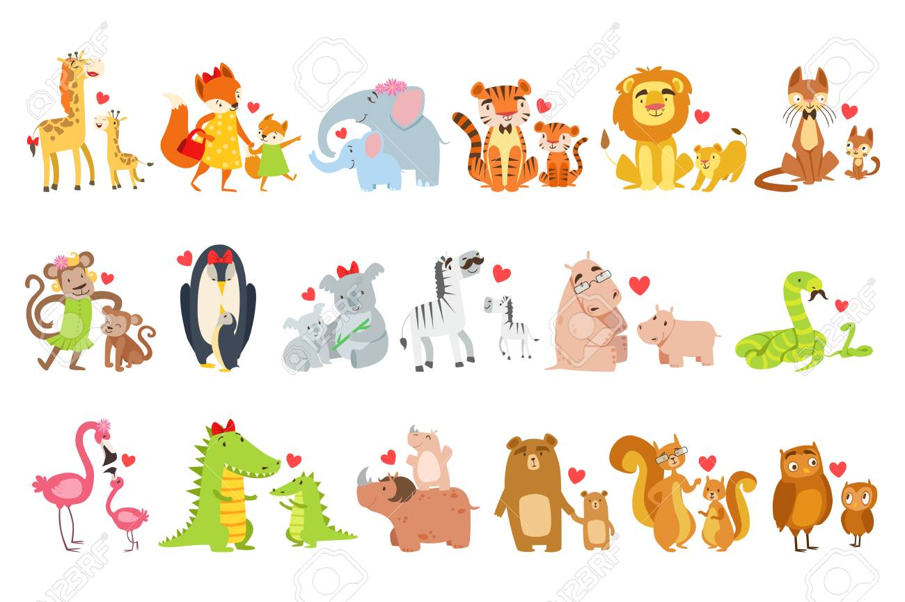 Baby animals and their moms illustration set..