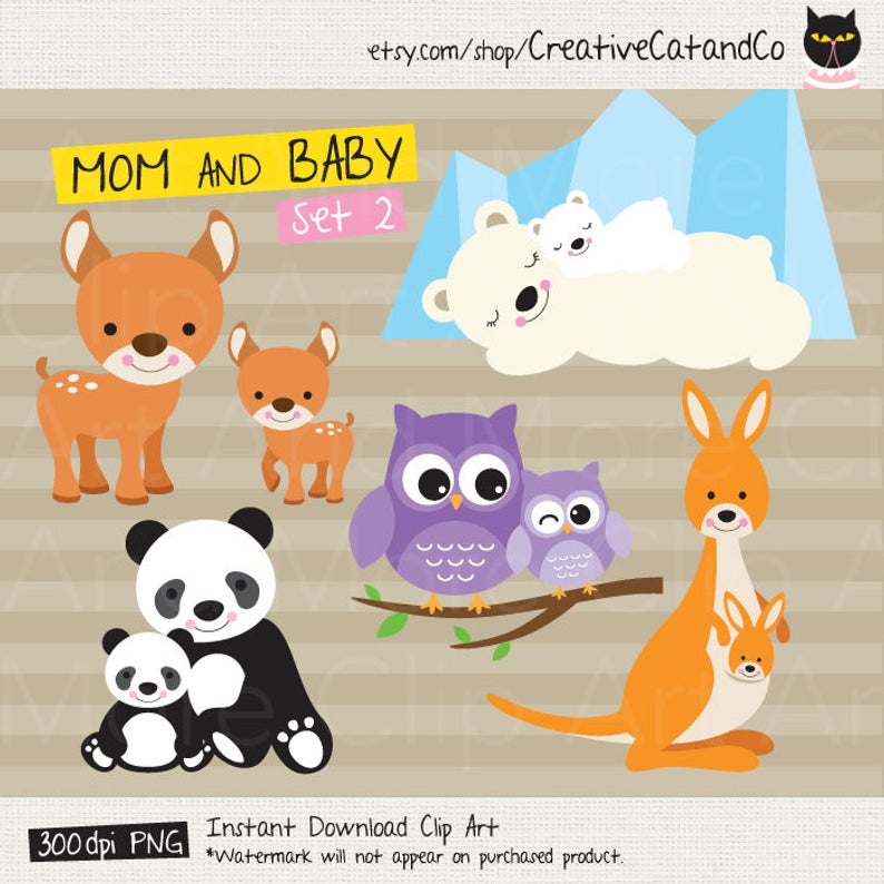 Mom and Baby Clipart Mama and Baby Animal Clipart Mother and Baby Animal  Clip Art Cute Mom and Baby Animal Mother's Day Animal Clipart.