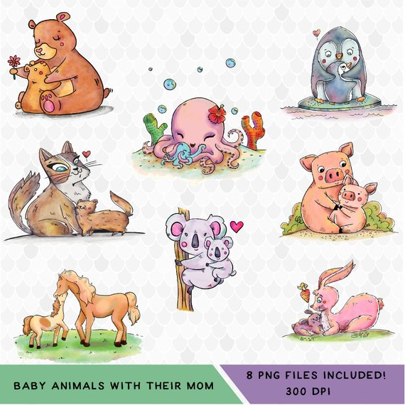 Mother's Day Clipart, Baby Animal Clipart, Animal Clipart, Mom.