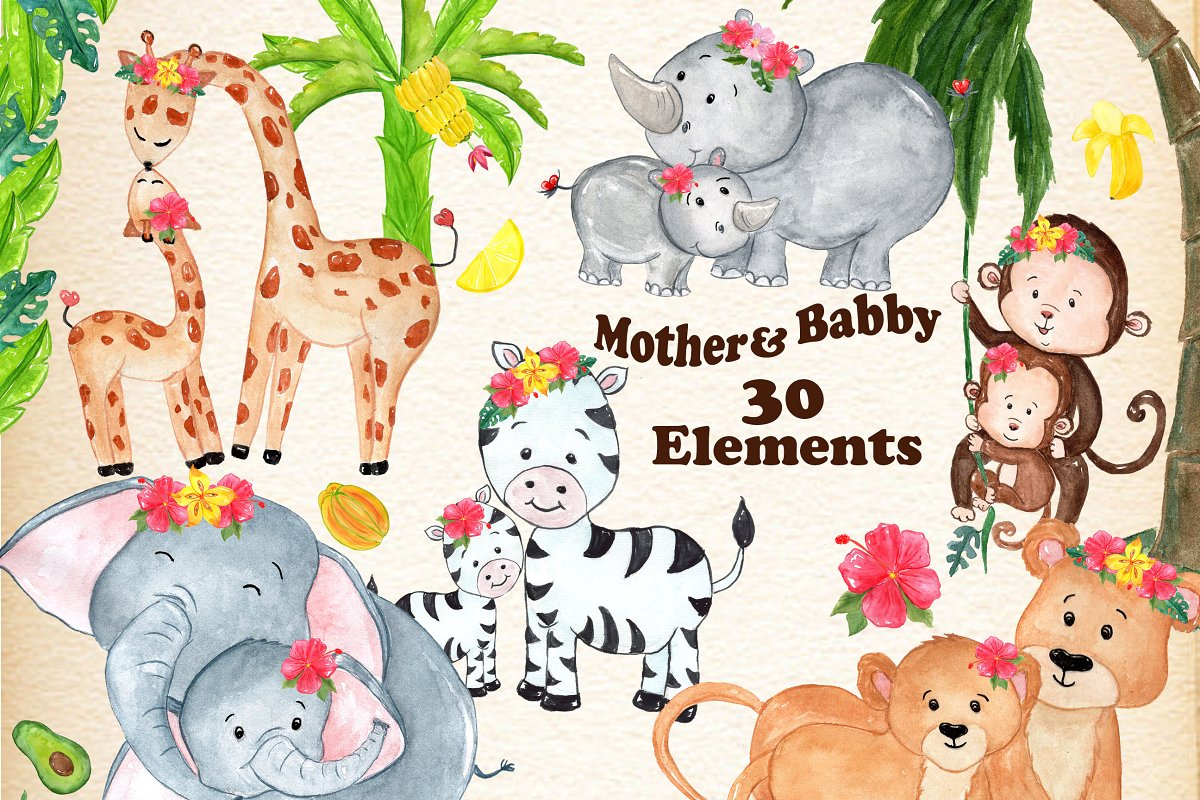 Mother and baby animals clipart ~ Illustrations ~ Creative Market.