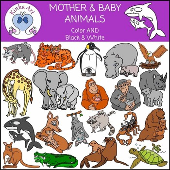 Baby Animals And Their Mothers Clipart & Worksheets.