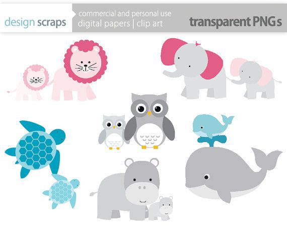 mom baby animal clip art graphics, baby shower mother's day animals.