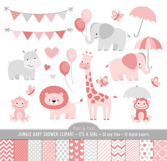 Jungle Clip Art, Animals Baby Shower clipart, It\'s a girl.