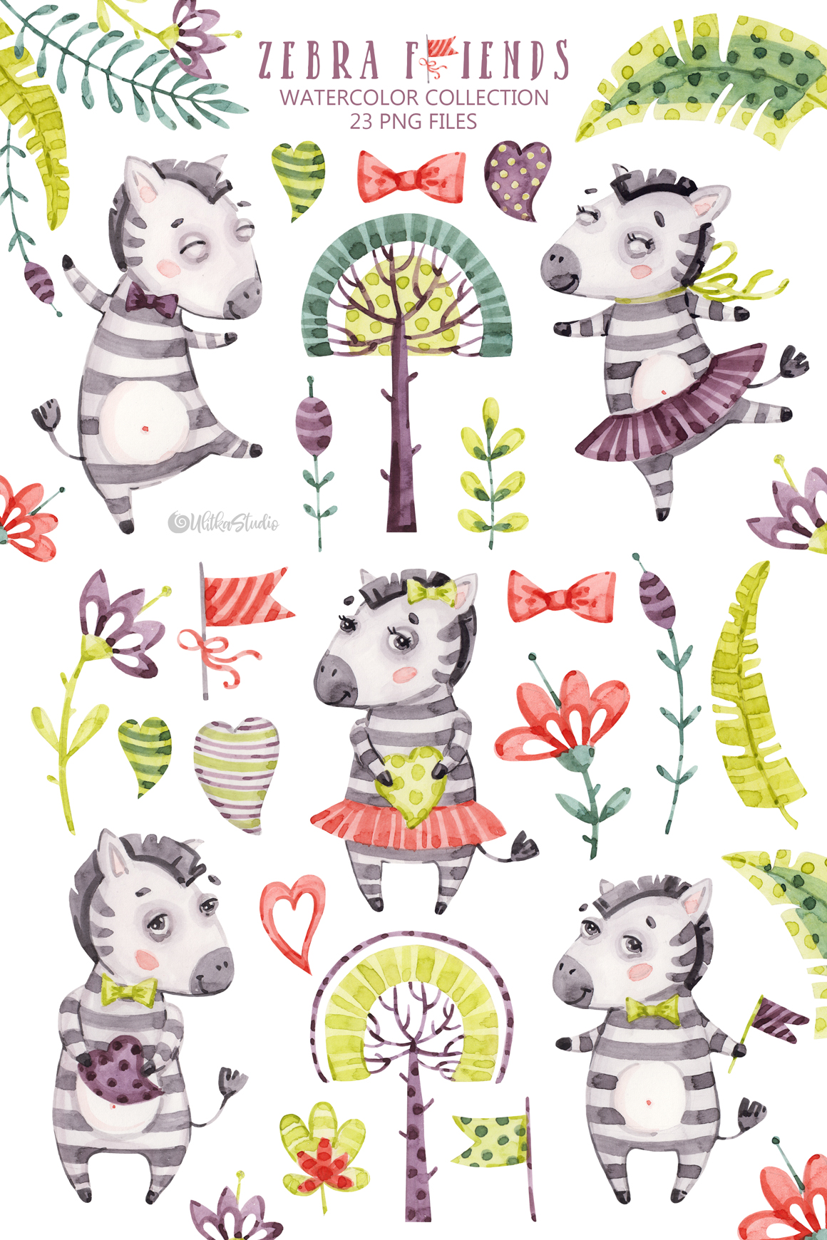 Cute Zebra Friends clip art. Kids watercolor tropical.