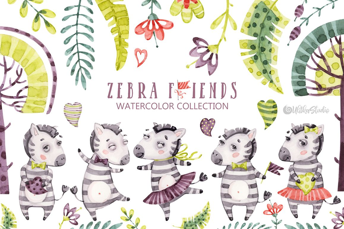Cute Zebra. Kids horse. Watercolor baby animals clipart.