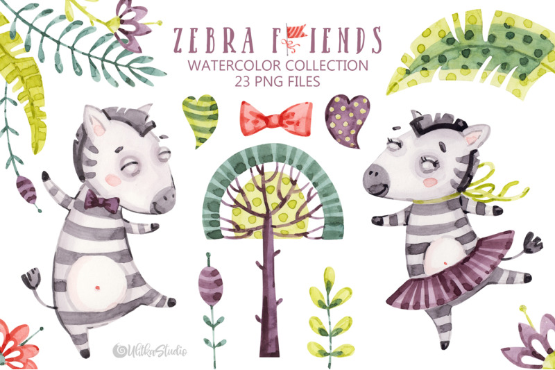 Cute Zebra Friends. Kids naive horse. Watercolor baby.