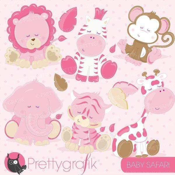 Baby pink animals clipart.