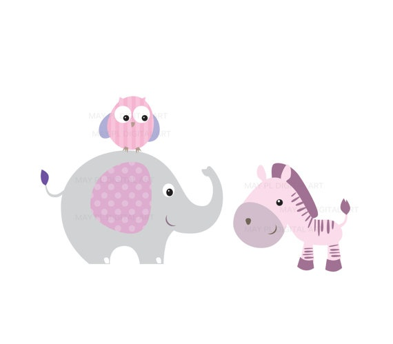 Baby Girl Animals Clipart.