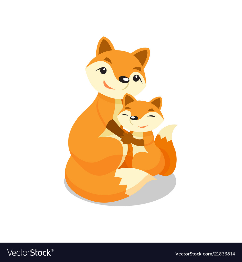 Mother fox hugging her baby fox vector image.