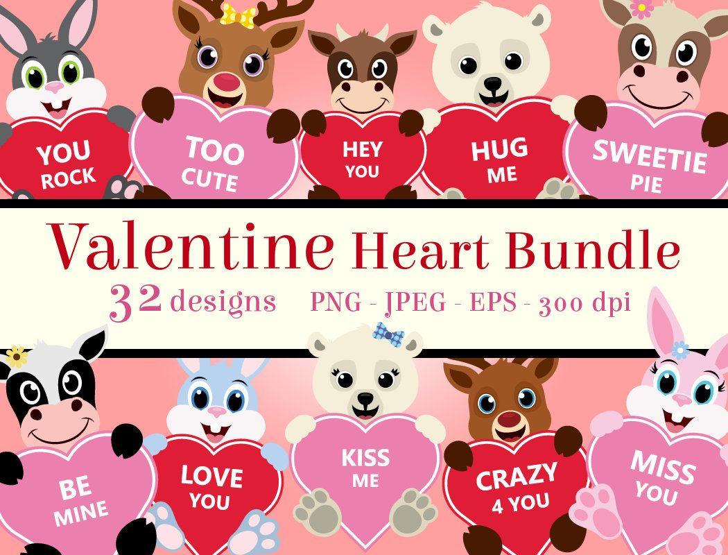 Valentine Heart Bundle Clipart, PNG Valentine\'s clip art.