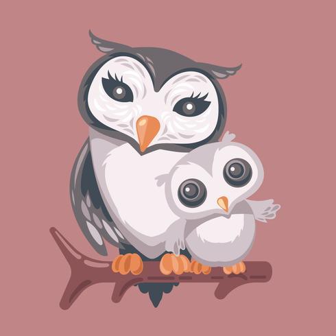 Mama Owl Hugging Her Baby.