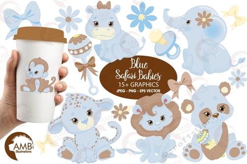 Jungle Animals clipart, Jungle animal babies clipart, Blue Baby Animals,  Jungle Clip art, vector graphics, AMB.