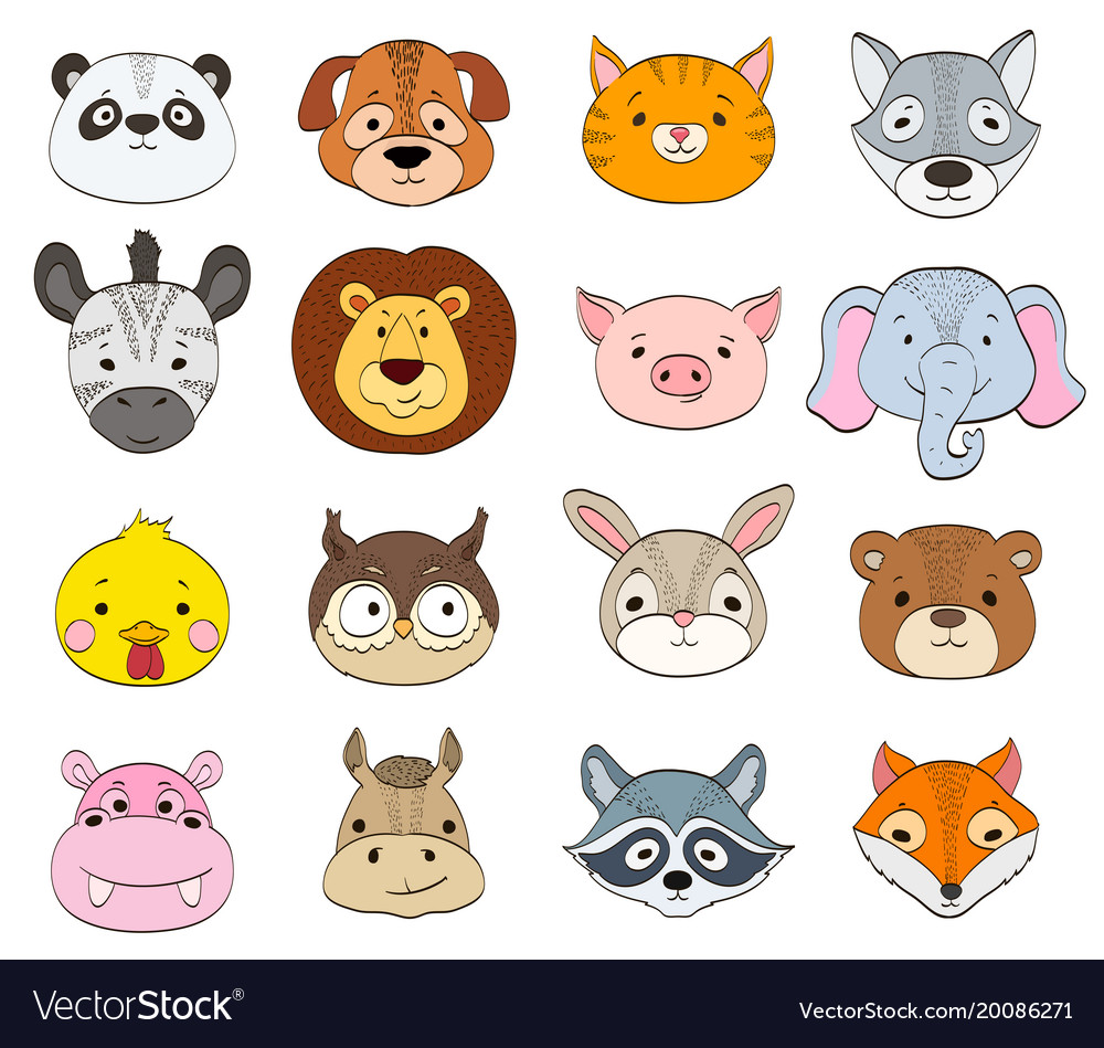 Set of cartoon animal faces on white baby animals.