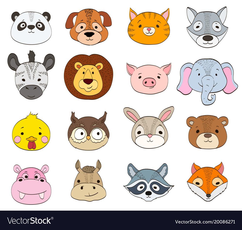 Set of cartoon animal faces on white baby animals.
