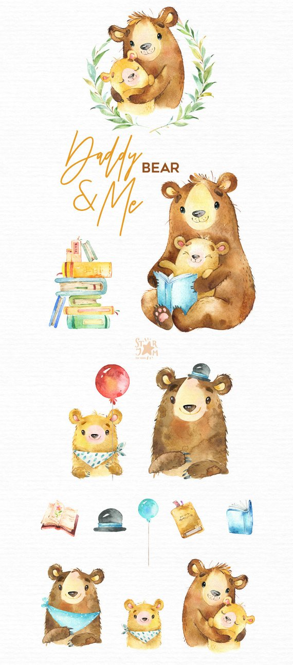 Daddy & Me. Bear Watercolor animals clipart, father, hugs.