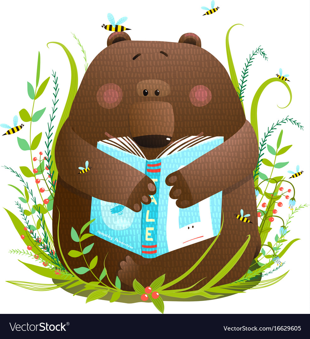 Bear cub reading book cute cartoon.