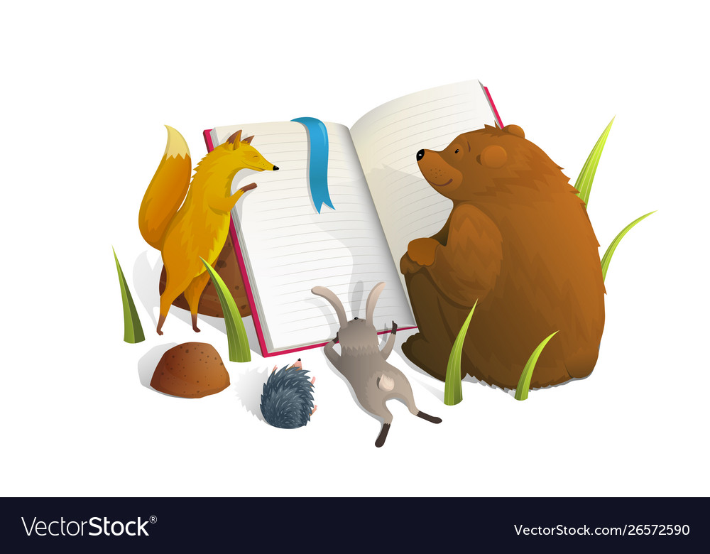 Animals reading book watercolor style.