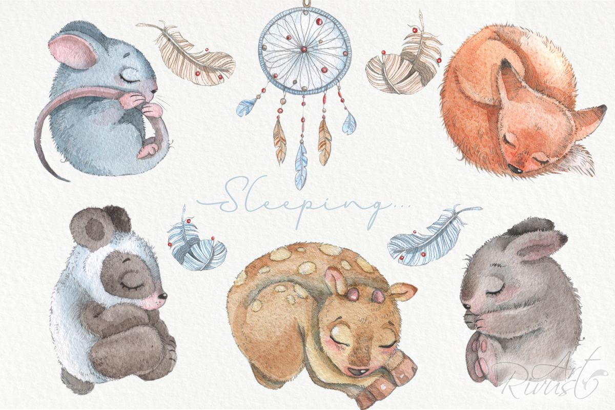 Cute sleeping baby animals watercolor clipart kit.