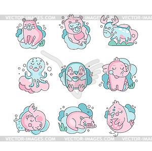 Cute funny cartoon baby animals sleeping set,.