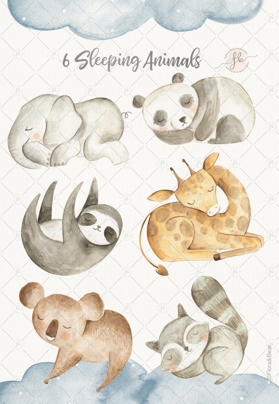 Baby Animals Watercolor Clipart Digital Download Nursery Art.