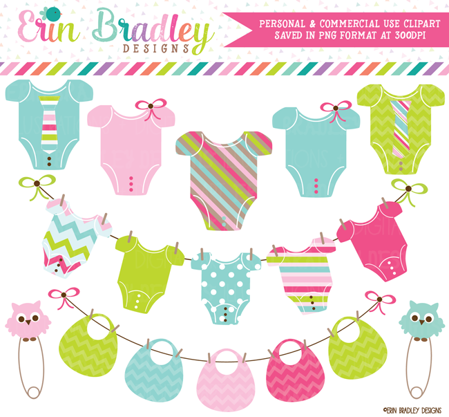 Gender Neutral Baby Tees and Bunting Clipart.