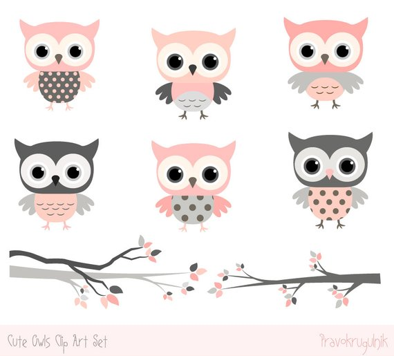 Baby shower owl clipart images, Cute owl kawaii clip art.
