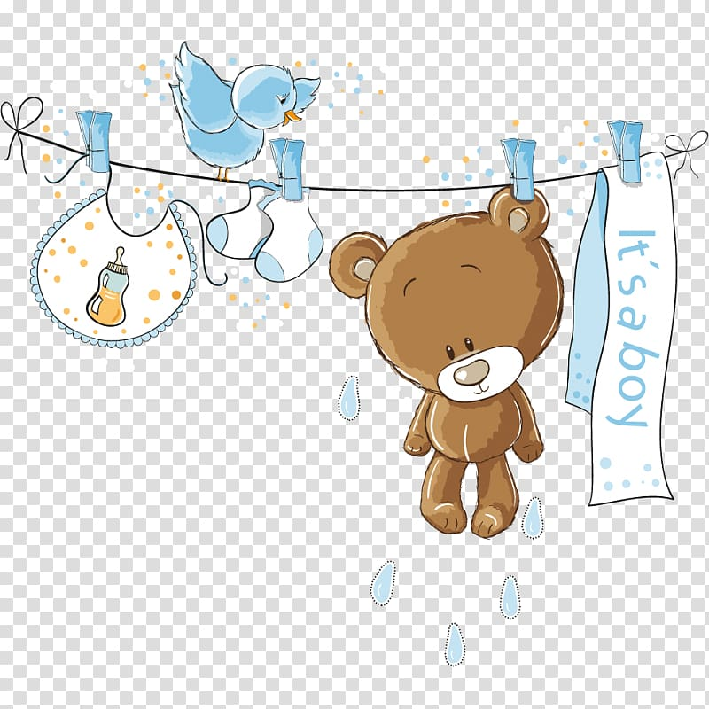Bear hanging on rope illustration, Wedding invitation Baby.