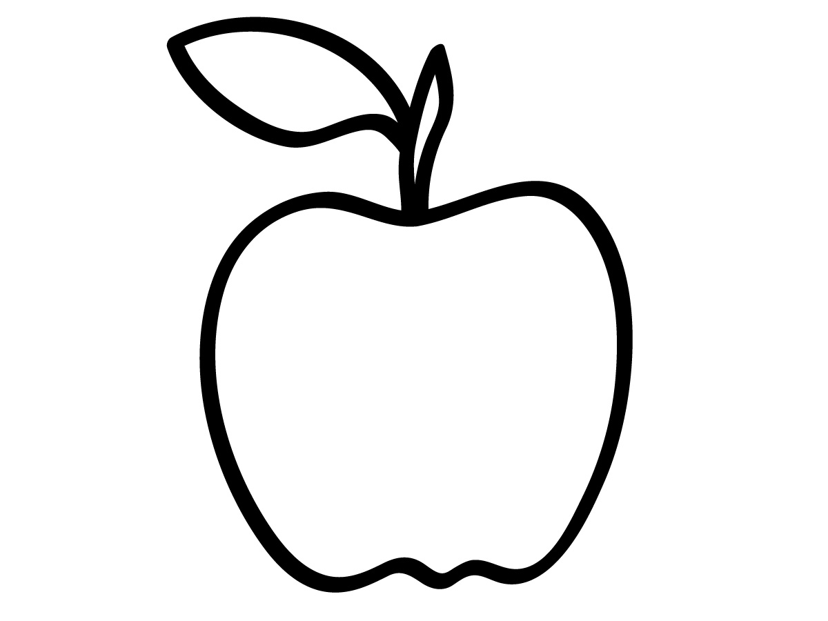 Apple Black And White Clipart.