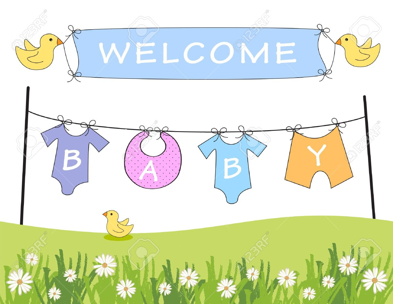 New baby arrival clipart.