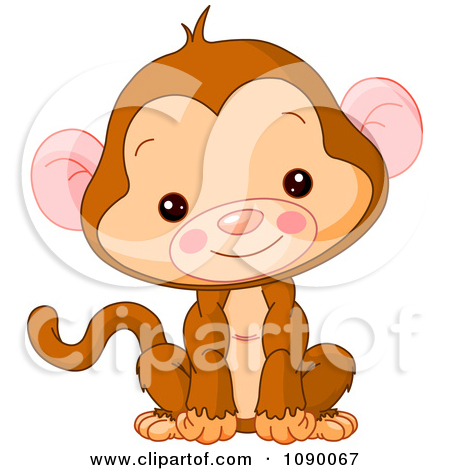 Free Cute Cartoon Monkey Clipart Illustration.
