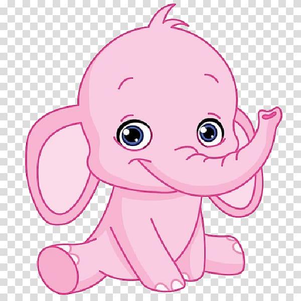 Pink elephant isolated on blue bakground, Cartoon Infant.