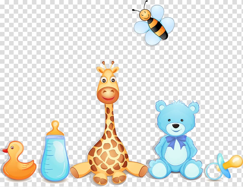 Dolls and feeding bottle illustration, Infant Graphic design.