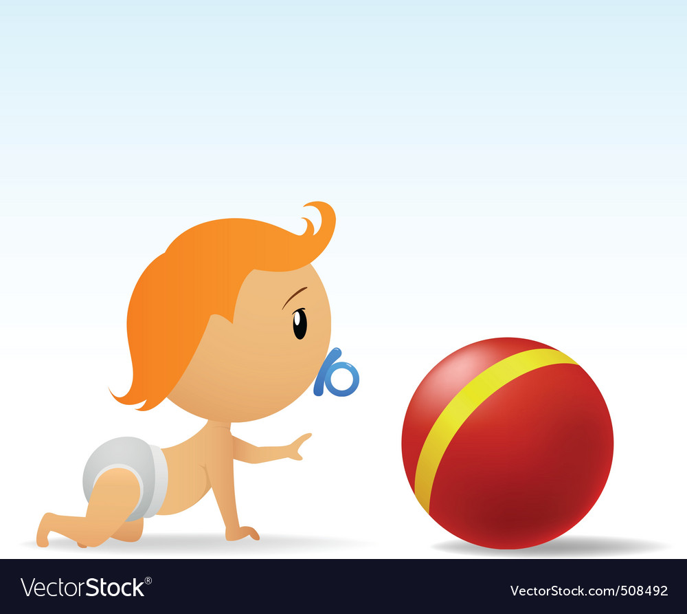 Cartoon cute baby crawling to red ball.